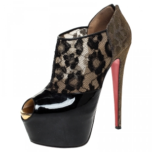 Christian Louboutin Black Leopard Print Lame Fabric/Lace and Patent Leather Aerontoc Peep Toe Platform Booties Size 39 - used