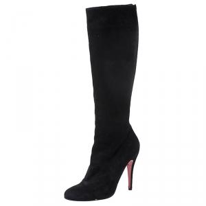 حذاء بوت منتصف ساق كريستيان لوبوتان سحاب خلفي سويدي أسود مقاس 39.5
