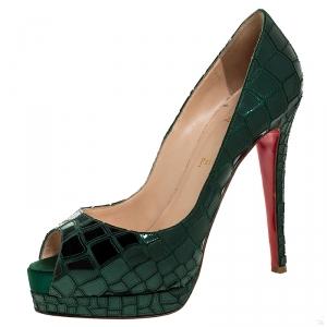 حذاء كعب عالي كريستيان لوبوتان مقدمة مفتوحة Prive Mosaic بلاستيك مرآة وساتان أخضر مقاس 41