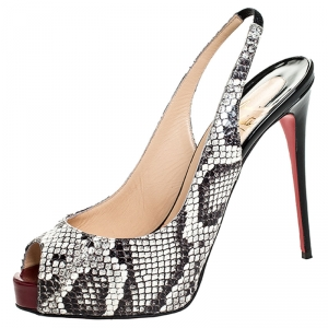 Christian Louboutin Monochrome Python N°Prive Platform Slingback Sandals Size 38 - used