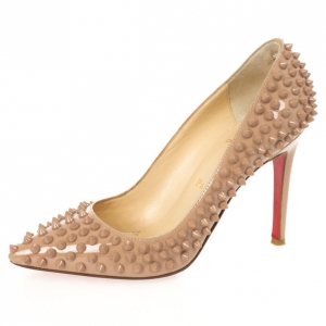 Christian Louboutin Nude Patent Pigalle Spikes 100mm Pumps Size 37