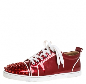 Christian Louboutin Red Patent Leather And White Leather Trim Louis Junior Spikes Sneakers Size 42