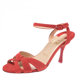 Christian Louboutin Tangerine Suede Trezuma Ankle Strap Sandals Size 37 - used
