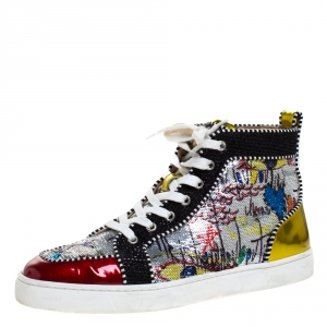 Christian Louboutin Multicolor Graffiti Sequin And Leather Rantus Orlato High Top Sneakers Size 42