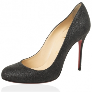 Christian Louboutin Black Glitter 'Fifi 100mm' Pumps Size 37.5