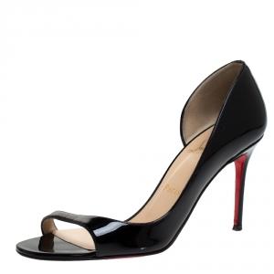 Christian Louboutin Black Patent Leather Toboggan Sandals Size 37.5 - used