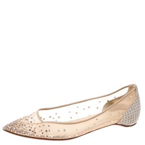 Christian Louboutin Nude Beige Mesh and Lame Fabric Degrastrass Pointed Toe Flats Size 39