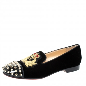 Christian Louboutin Black Velvet And Patent Spiked Cap Toe Harvanana Smoking Slippers Size 39