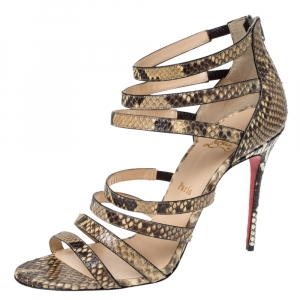 Christian Louboutin Two Tone Python Leather Mariniere 100 Sandals Size 40 - used