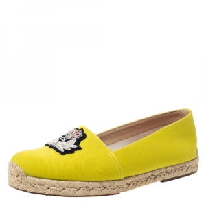 Christian Louboutin Yellow Canvas Gala Embroidered Crest Espadrille Loafers Size 38 - used