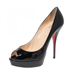 Christian Louboutin Black Patent Leather Lady Peep Platform Pumps Size 41