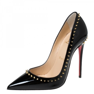 Christian Louboutin Black Studded Patent Leather Anjalina Pumps Size 35