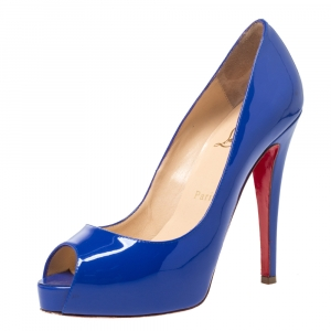 Christian Louboutin Blue Patent Leather Peep Toe Very Prive Pump Size 37
