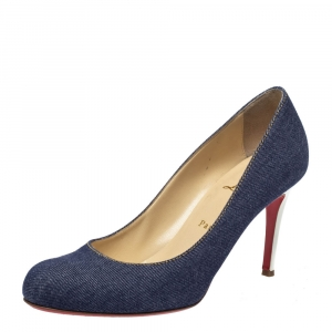 Christian Louboutin Blue Denim Simple Pumps Size 40