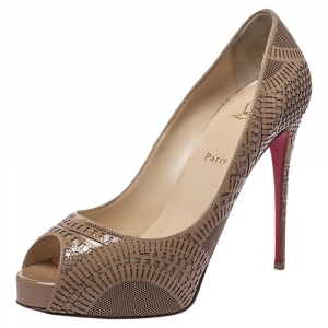 Christian Louboutin Beige Lazer Cut Patent Leather Suellena Peep Toe Platform Pumps Size 41