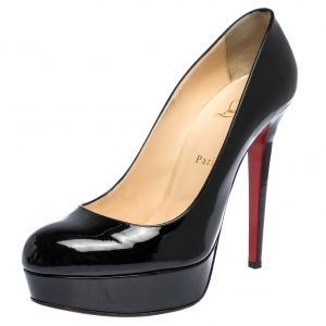 Christian Louboutin Black Leather Bianca Platform Pumps Size 40