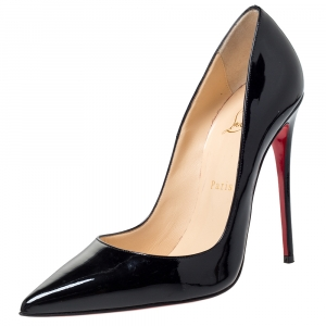 Christian Louboutin Black Patent Leather So Kate Pointed Toe Pumps Size 38.5