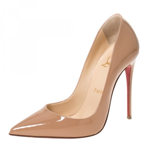 Christian Louboutin Beige Patent Leather So Kate Pointed Toe Pumps Size 36