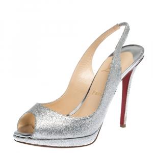 Christian Louboutin Silver Glittered Peep Toe Platform Sandals Size 39 - used