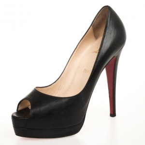Christian Louboutin Black Leather 'Altadama 140mm' Peep Toe Platform Pumps Size 38