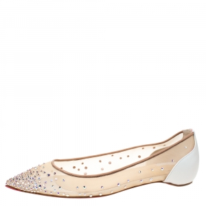 Christian Louboutin White Leather And Mesh Follies Strass Ballet Flats Size 38.5