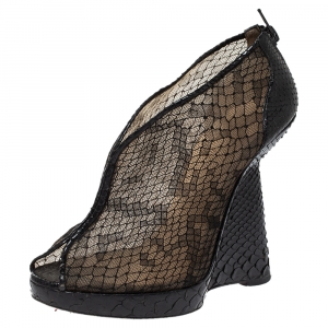 Christian Louboutin Black Mesh And Python Leather Janet Wedge Booties Size 36 - used
