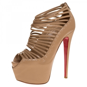 Christian Louboutin Beige Leather Zoulou Platform Peep Toe Cage Sandals Size 38.5 - used