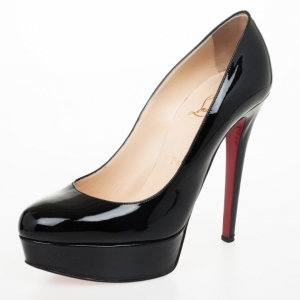 Christian Louboutin Black Patent Leather Bianca 140mm Platform Pumps Size 36.5