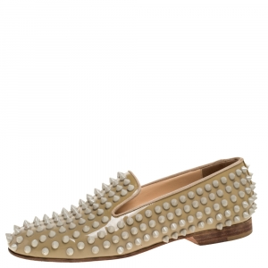 Christian Louboutin Beige Rollerboy Spikes Smoking Slippers Size 35 - used