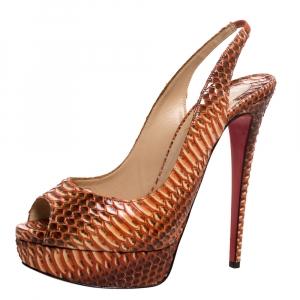 Christian Louboutin Orange Python Leather Slingback Lady Peep Toe Platform Sandals Size 39 - used