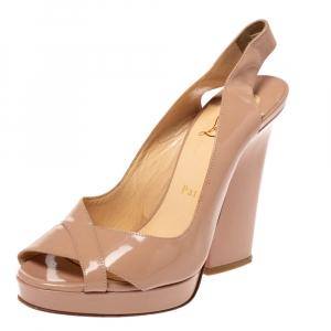Christian Louboutin Beige Patent Leather Marpoil Peep Toe Platform Slingback Sandals Size 36.5 - used