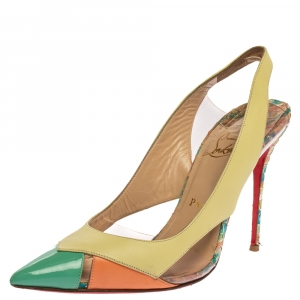 Christian Louboutin Tricolor Python Embossed/Leather and PVC Air Chance Sling Back Sandals Size 40 - used