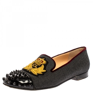 Christian Louboutin Black Canvas And Patent Leather Harvanana Spiked Cap Toe Smoking Slippers Size 38 - used