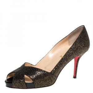 Christian Louboutin Black/Gold Glitter Fabric Shelley Platform Peep Toe Pumps Size 41