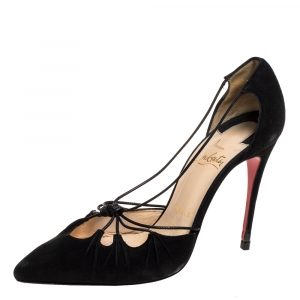 Christian Louboutin Black Suede Riri Pointed Toe Pumps Size 37