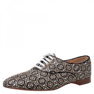 Christian Louboutin Multicolor Woven Leather Fred Lace Up Oxfords Size 41.5