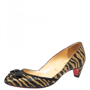 Christian Louboutin Black/Beige Tiger Print Raffia Bow Kitten Heel Pumps Size 37.5