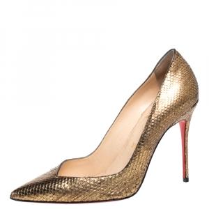 Christian Louboutin Metallic Gold Python Corneille Pointed Toe Pumps Size 38