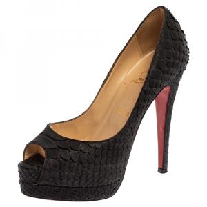 Christian Louboutin Black Python Leather Lady Peep Pumps Size 36