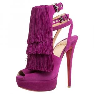 Christian Louboutin Fuchsia Suede Change Of The Guard Cross Ankle Strap Sandals Size 36 - used