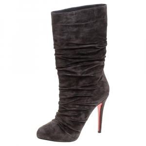 Christian Louboutin Dark Brown Pleated Suede Prios Mid Calf Boots Size 39.5