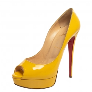 Christian Louboutin Yellow Patent Leather Lady Peep Toe Platform Pumps Size 40.5