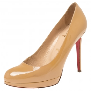 Christian Louboutin Cream Patent Leather New Simple Platform Pumps Size 38.5