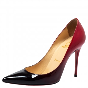 Christian Louboutin Red/Black Patent Leather Ombre So Kate Pointed Toe Pumps Size 36