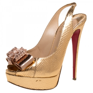 Christian Louboutin Metallic Gold Python Embossed Leather Lady Clou Platform Slingback Sandals Size 38