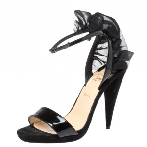 Christian Louboutin Black Suede and Patent Leather Jacqueline Ankle Strap Sandals Size 36.5 - used
