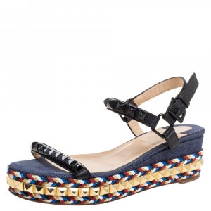 Christian Louboutin Black Studded Leather Cataclou Espadrille Wedge Sandals Size 36 - used