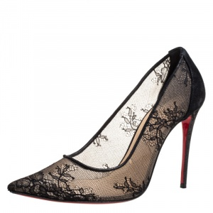 Christian Louboutin Black Lace And Suede Leather Trim Pointed Toe Pumps Size 37.5