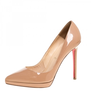 Christian Louboutin Beige Patent Leather Pigalle Plato Pumps Size 39.5
