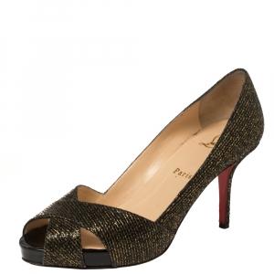 Christian Louboutin Black/Gold Glitter Fabric Shelley Platform Peep Toe Pumps Size 38